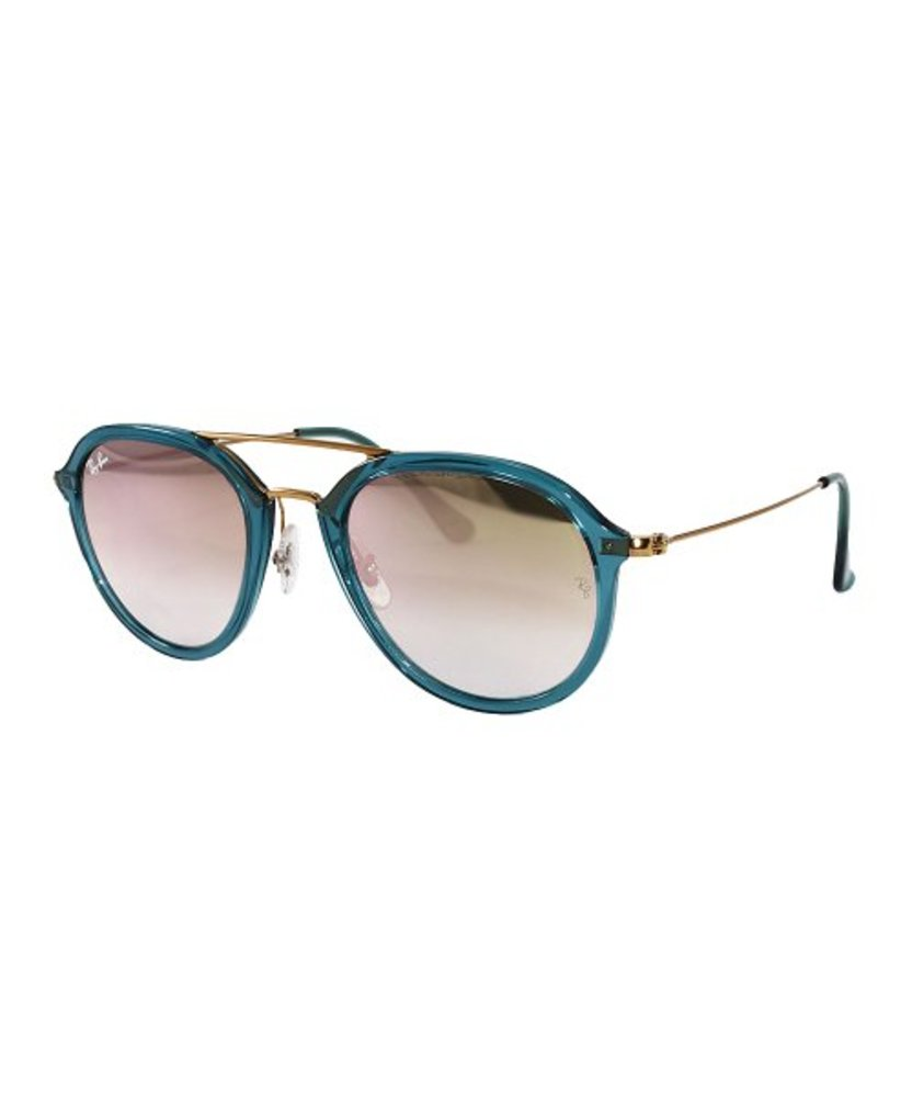 Photo of Ray-Ban Transparent Blue & Brown Mirror Round Sunglasses