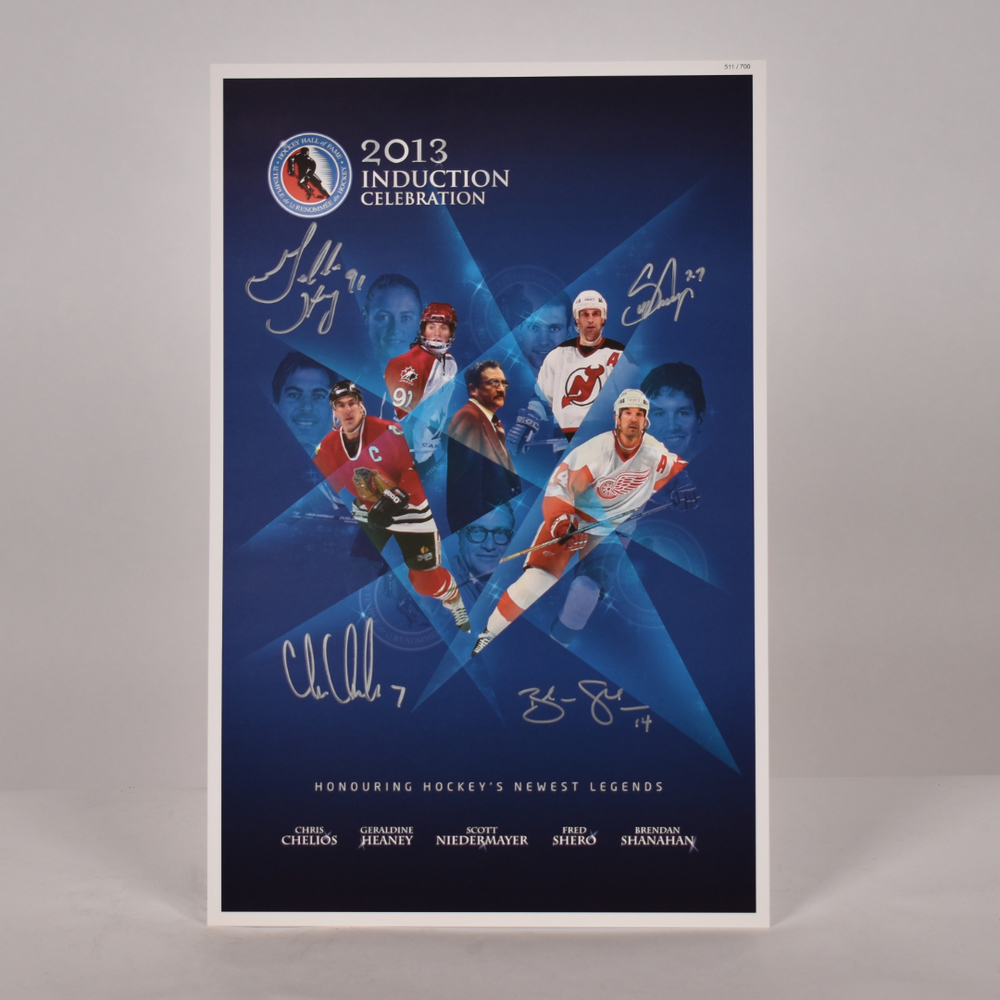Shanahan, Chelios, Niedermayer, Heaney, Shero - Class of 2013 Induction Signed Poster - Limited Edition