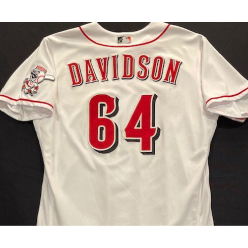 Photo of Matt Davidson - 2020 Home White Jersey - Game-Used - Size 48 - Worn for Reds Opening Day (7/24/20)