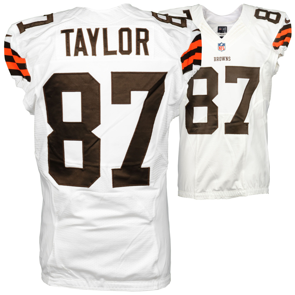 Ryan Taylor Cleveland Browns Game Used White #87 Jersey from the 2014 Season