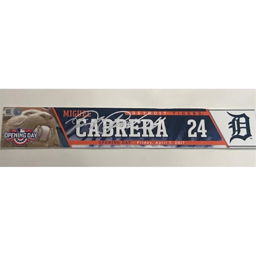 Photo of Autographed Game-Used 2017 Opening Day Locker Name Plate: Miguel Cabrera