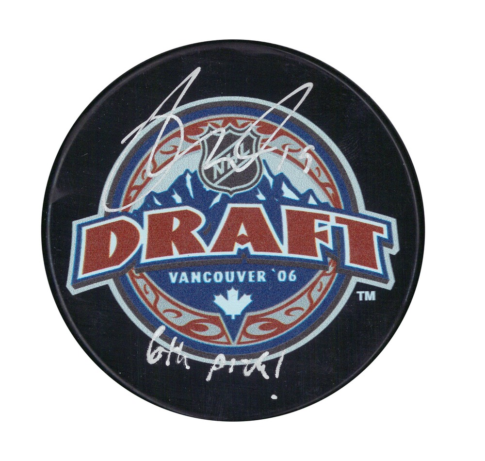 Derick Brassard - Signed Puck 2006 Draft Insc 6th Pick