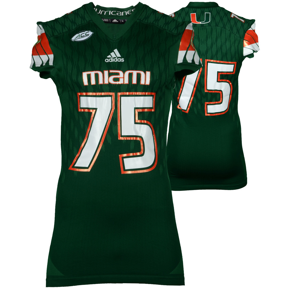 Miami Hurricanes Game-Used Green #75 Adidas Football Jersey Used Between The 2015 and 2016 Seasons - Size XL