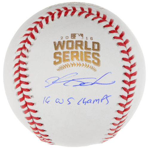 Photo of Kyle Schwarber Chicago Cubs 2016 MLB World Series Champions Autographed World Series Logo Baseball with 2016 WS Champs Inscription