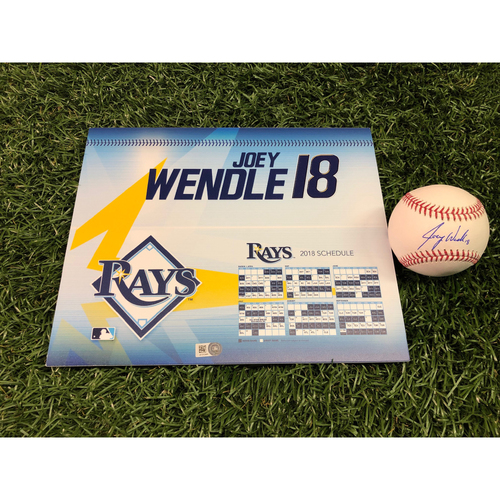 2018 Game-Used Locker Tag and Autographed Baseball: Joey Wendle