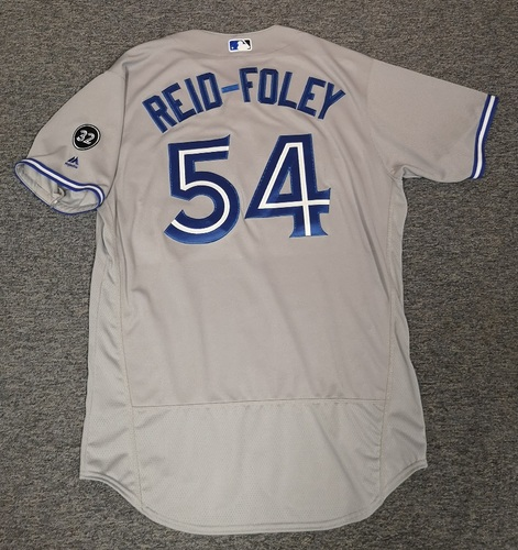 Photo of Authenticated Game Used Jersey - #54 Sean Reid-Foley (Aug 13, 18: 5 IP, 6 Hits, 3 ER, 3 BB, 3 Ks). Size 48. Rookie Season. MLB Debut.