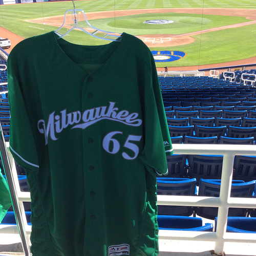 Photo of Ji-Man Choi 2018 Team-Issued St. Patrick's Day Jersey
