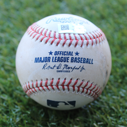 Photo of Game-Used Baseball: Reynaldo Lopez Pitched Strikeout to Adalberto Mondesi (CWS @ KC - 6/9/19)