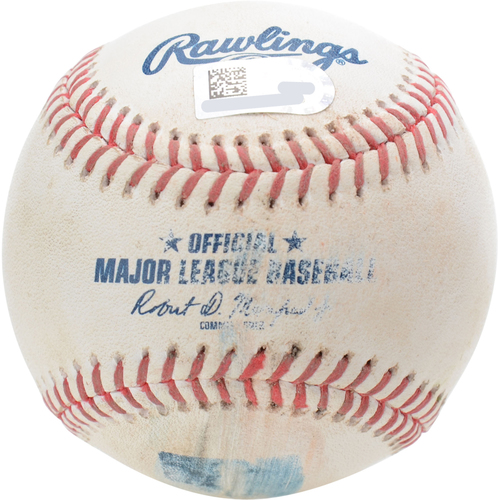 New York Yankees Game-Used Baseball: Pitcher: J.A. Happ, Batter: Jace Peterson, Foul (Top 3) - 8/14/19 vs. BAL