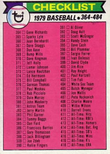 Photo of 1979 Topps #483 Checklist 364-484 DP