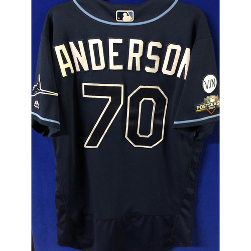 Photo of Game Used Postseason Jersey (WC/ALDS): Nick Anderson - October 2 (OAK) & October 4, 10 (HOU)
