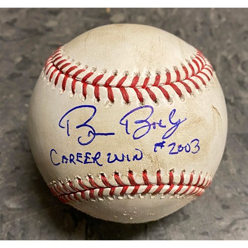 "Photo of 2019 Game Used & Autographed Inscribed Baseball - Bruce Bochy's 2,003 Career Win - Game Used on 9/26 vs. Colorado Rockies - Autographed & Inscribed ""Bruce Bochy Career Win #2003- T-8: Abad to Hillard - Pitch in the Dirt"