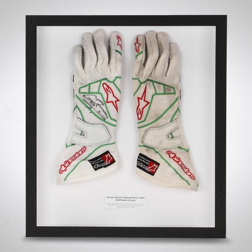 Photo of Jenson Button 2008 Framed Signed Gloves - Honda F1 Team