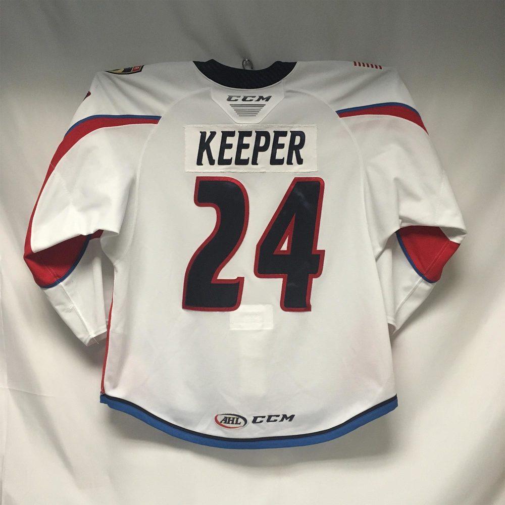 2019-20 Springfield Thunderbirds Regular Season Jersey Worn by #24 Brady Keeper