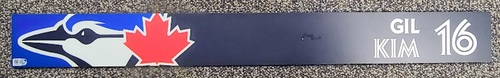 Photo of Authenticated Game Used Locker Name Plate: #16 Gil Kim (Apr 8, 2021: First Regular Season Game in Dunedin)