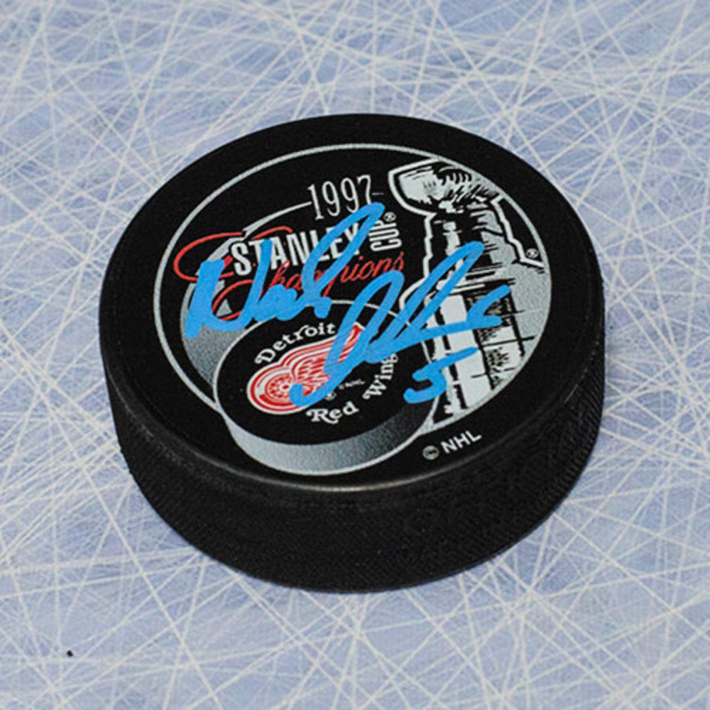 Nicklas Lidstrom Detroit Red Wings Autographed 1997 Stanley Cup Puck