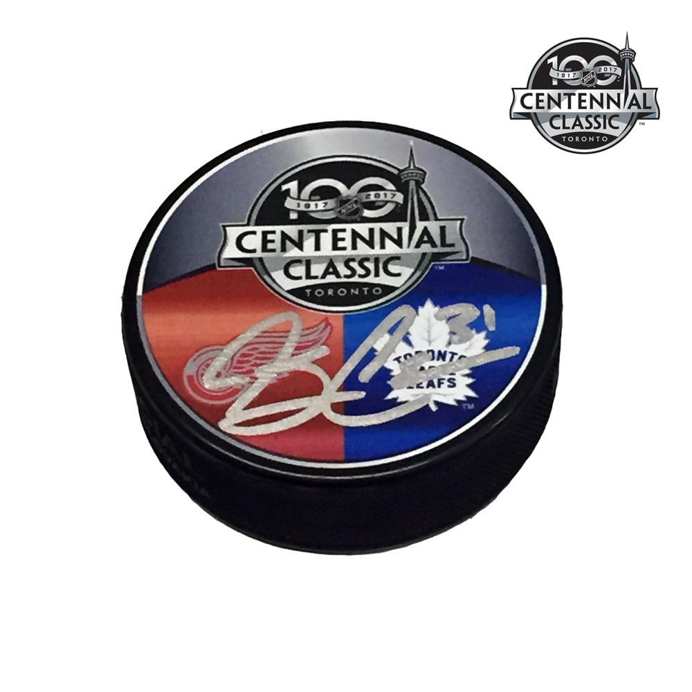 JARED COREAU Signed 2017 NHL CENTENNIAL CLASSIC Souvenir Puck - Detroit Red Wings