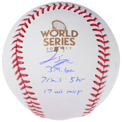 Photo of George Springer Houston Astros 2017 MLB World Series Champions Autographed Logo Baseball with Multiple Inscriptions - L. E. of 50