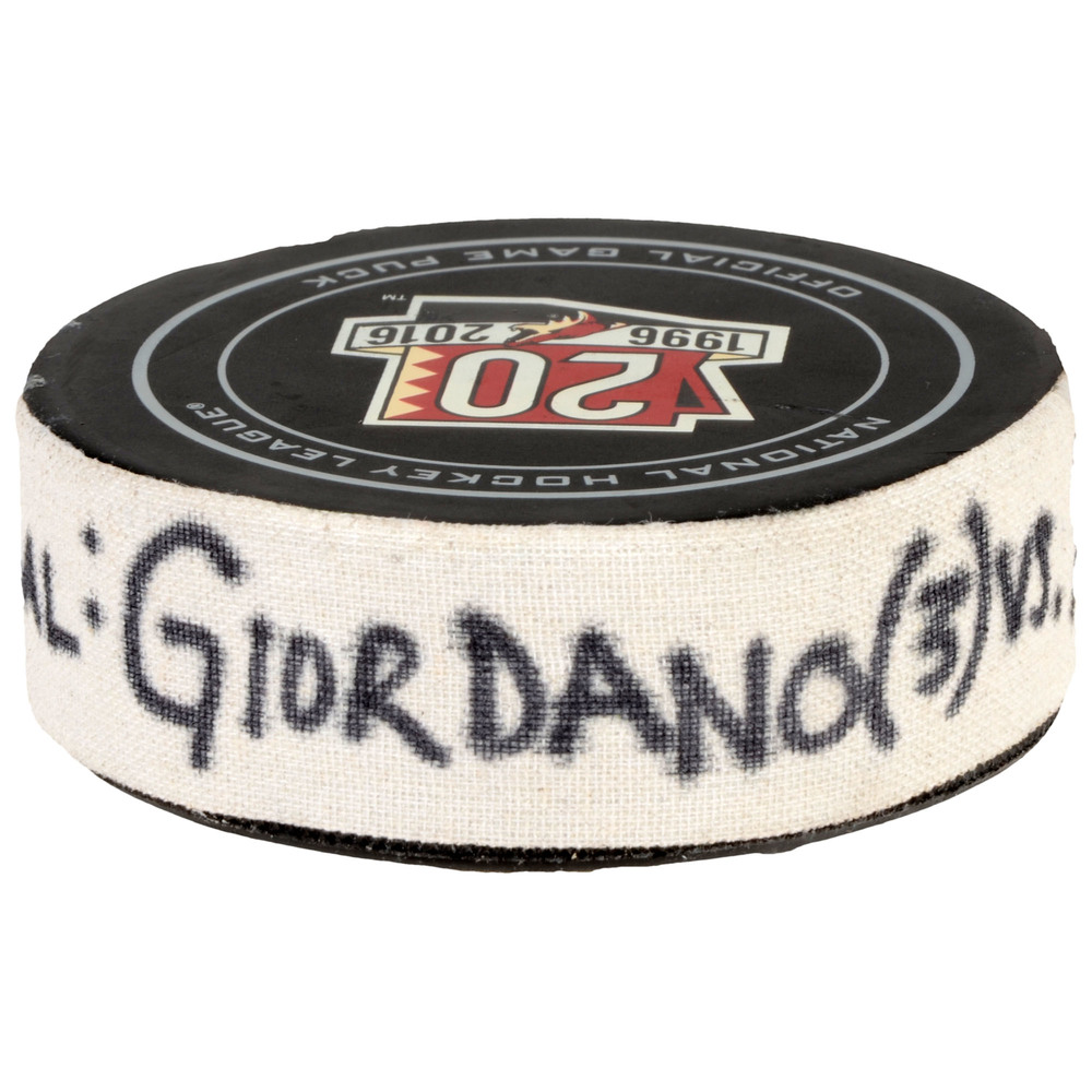 Mark Giordano Calgary Flames Game-Used Goal Puck from December 8, 2016 vs. Arizona Coyotes