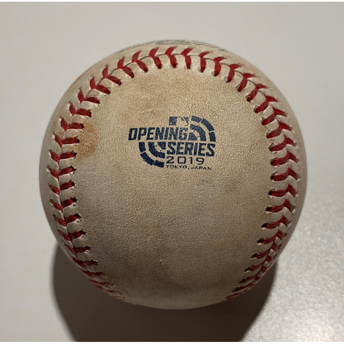 Photo of 2019 Japan Opening Day Series - Game Used Baseball - Batter: Chad Pinder, Pitcher : Marco Gonzales - Double to CF - 3/20/19