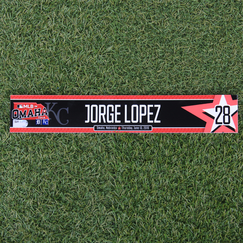 Photo of Game-Used Locker Tag: MLB in Omaha - Jorge Lopez (DET @ KC - 6/13/19)