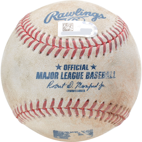 Photo of New York Yankees Game-Used Baseball: Pitcher: Adam Plutko, Batter: DJ LeMahieu, Single (Bot 1) - 8/15/19 vs. CLE