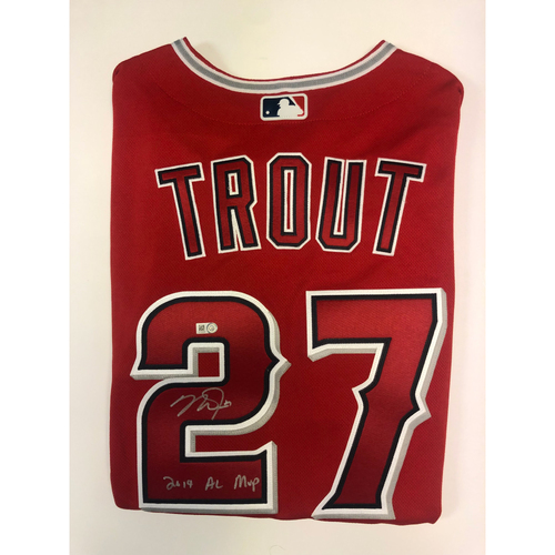 """Photo of Mike Trout """"2019 AL MVP"""" Autographed Authentic Red Angels Jersey"""