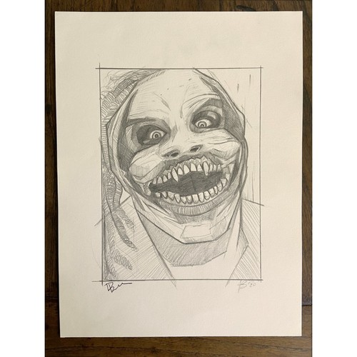 "Photo of ""The Fiend"" Bray Wyatt Autographed Original ""Icons Of The Ring"" Sketch"