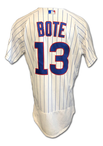 Photo of David Bote Game-Used Jersey --Cardinals vs. Cubs -- 9/7/2020 -- Size 44 + 1B