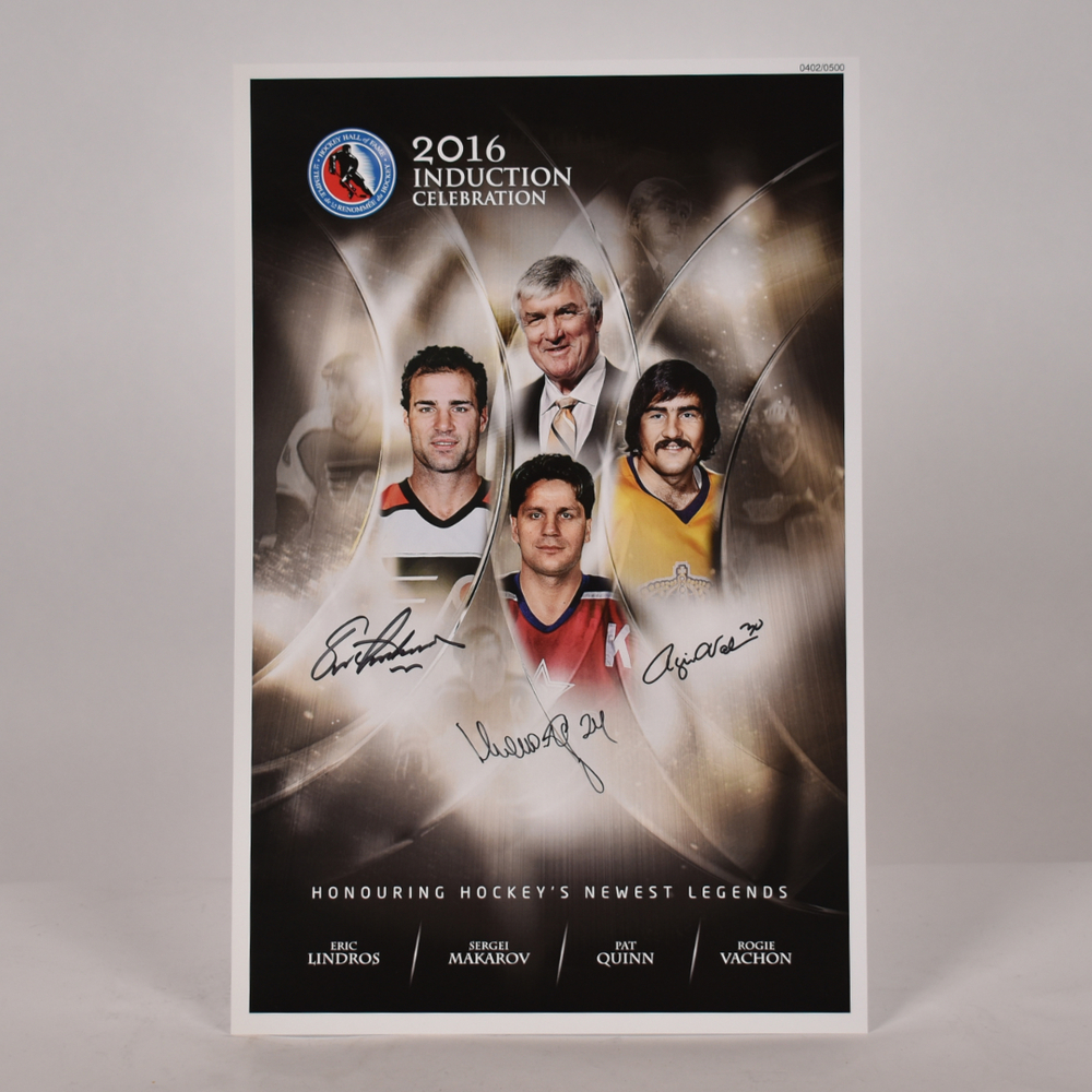 Lindros, Makarov, Vachon, Quinn - Class of 2016 Induction Signed Poster - Limited Edition