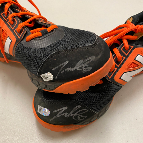Photo of 2020 Cyber Monday Sale - #57 Dereck Rodriguez Game Used Autographed Black & Orange New Balance Shoes - Size 12