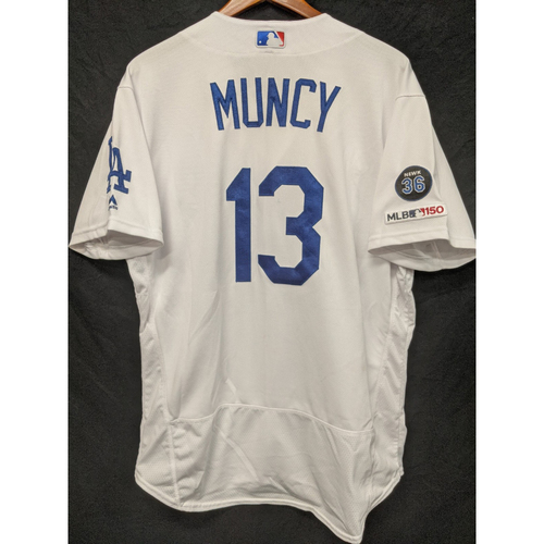 Photo of Max Muncy Game-Used Home Jersey, Last Home Game of 2019