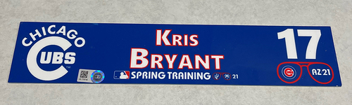 Photo of Kris Bryant 2021 Spring Training Locker Nameplate