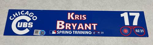 Photo of Kris Bryant 2021 Spring Training Locker Nameplate