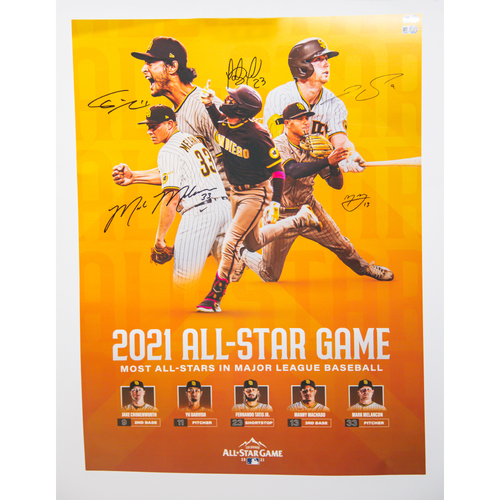 Photo of 2021 All-Star Poster Autographed by all 5 Padres All-Stars