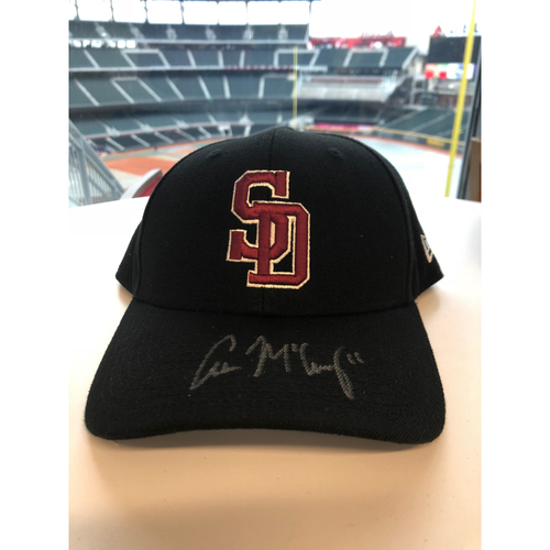 Photo of Adam McCreery Autographed, Game-Worn Stoneman Douglas Eagles Cap
