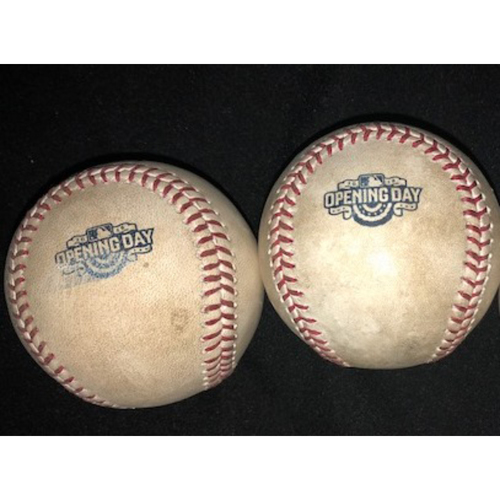 Photo of Pair of Opening Day Baseballs from 2015 and 2016