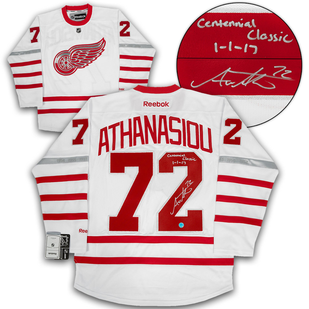 Andreas Athanasiou Detroit Red Wings Signed & Dated 2017 Centennial Classic Reebok Jersey - Size Medium