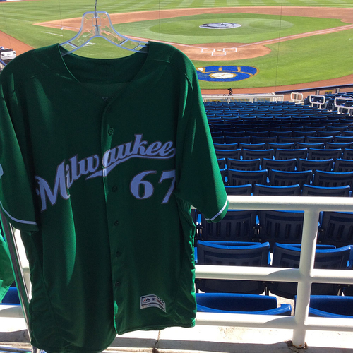 Photo of Adrian Houser 2018 Team-Issued St. Patrick's Day Jersey
