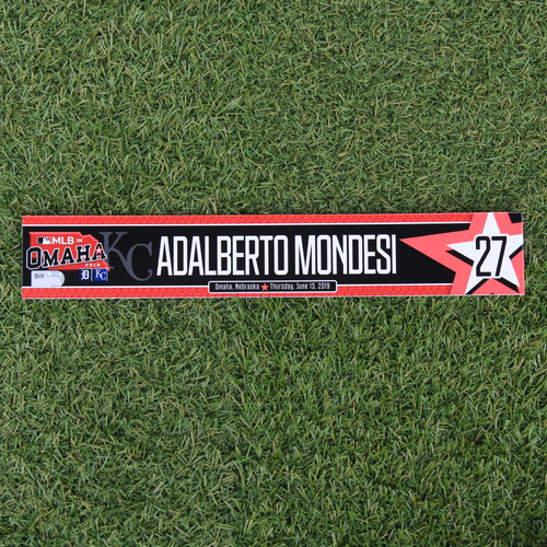 Photo of Game-Used Locker Tag: MLB in Omaha - Adalberto Mondesi (DET @ KC - 6/13/19)