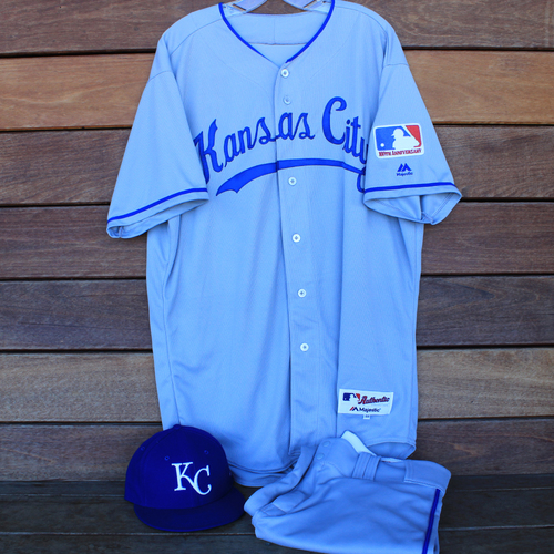 Photo of Game-Used 1969 Throwback Jersey, Pants and Cap: Mitch Maier (Jersey Size 48 - KC @ WSH  - 7/6/19)