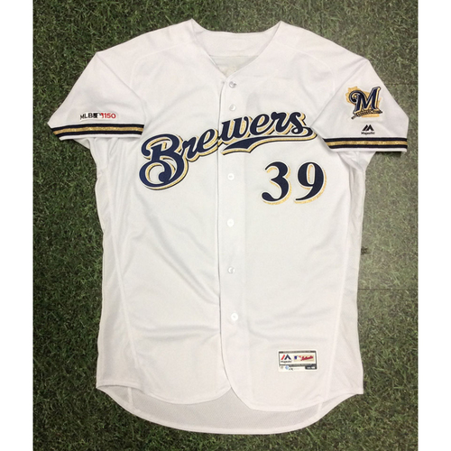 Photo of Corbin Burnes 2019 Game-Used Home White Jersey