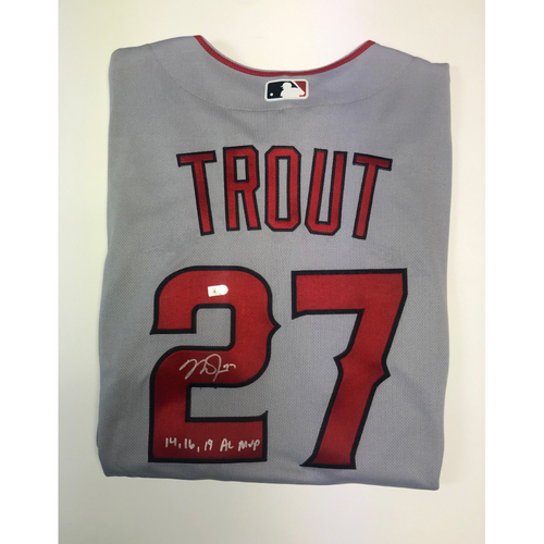 "Photo of Mike Trout ""14,16,19 AL MVP"" Autographed Authentic Grey Angels Jersey"