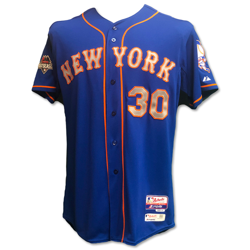 Photo of Michael Conforto #30 - Team Issued Blue Alt. Road 2015 Postseason Jersey