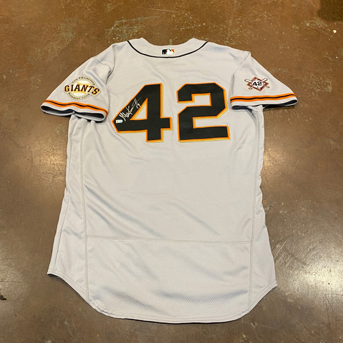 Photo of 2020 Jackie Robinson Day Jersey - Team Issued & Autographed - #19 Gabe Kapler (Manager) - Size 46