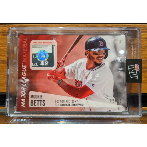 Photo of Topps Mookie Betts 2018 MVP Game Used Jersey Swatch Baseball Card 2/10
