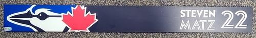 Photo of Authenticated Game Used Locker Name Plate: #22 Steven Matz (Apr 8, 2021: First Regular Season Game in Dunedin)