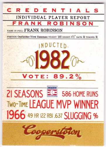 Photo of 2012 Panini Cooperstown Credentials #11 Frank Robinson