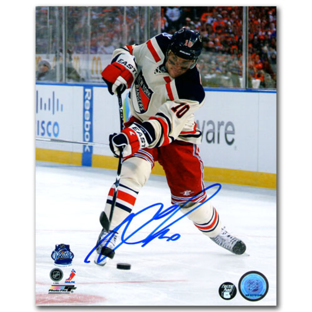 Marian Gaborik Autographed New York Rangers 2012 NHL Winter Classic 8X10 Photo (Columbus Blue Jackets)