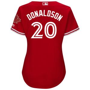 Toronto Blue Jays Women's Cool Base Replica Josh Donaldson Alternate Red Jersey by Majestic